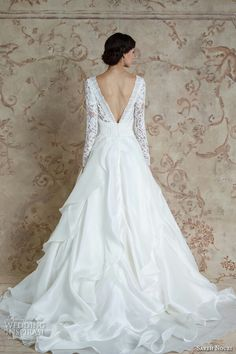 065a56a5eea9 sareh nouri fall 2016 bridal beautiful cascading layers a line wedding  dress long sleeves bateau neckline style mona lisa back -- Sareh Nouri Fall  2016 ...