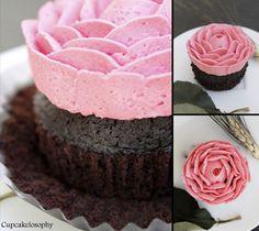 Cupcake buttercream roses using wilton #104 tip