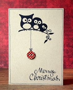 Could make anything hanging off the branch for any occasion, – Christmas DIY Holiday Cards Homemade Christmas Cards, Homemade Cards, Handmade Christmas, Xmas Cards, Diy Cards, Holiday Cards, Christmas Owls, Christmas Crafts, Christmas Ideas