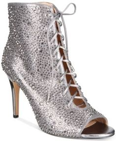 INC Rikelie Evening Peep-Toe Lace-Up Booties, Created for Macy's - Silver 10.5M