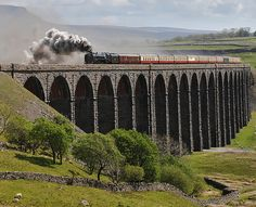 """UK Steam - """"Duke of Gloucester"""" passing over Ribblehead Viaduct, Yorkshire. Ribblehead Viaduct, Steam Trains Uk, Steam Railway, Railroad Photography, Old Trains, British Rail, Train Pictures, Train Engines, Train Journey"""