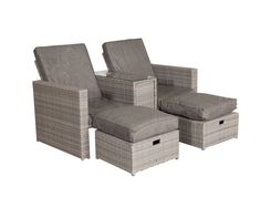 Paris Sun Lounger Set in Grey | Rattan Direct