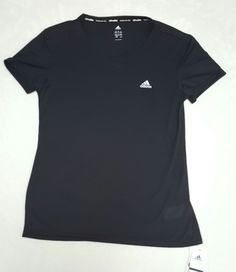 Adidas Womens Med Climalite Tee Black Short Sleeve V-neck, NWT | Clothing, Shoes & Accessories, Women's Clothing, Athletic Apparel | eBay!