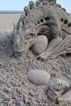 Sandsculptures, Beach Sand Art, Sand Sculptures, Sandcastles Sculptures, Sandcastles Sandart, Dragon Sand