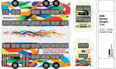 Hong Kong paper model bus from paperbuses.com. DIY paper craft