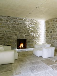 Example: Stone wall for reproduction! Brione House by Wespi De Meuron Romeo Architect Stone Interior, Interior Design, Modern Castle, Old Stone Houses, Rustic Stone, Stone Flooring, Stone Walls, Fireplace Design, Stone Fireplaces