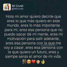 TE AMO TANTO MI AMOR!:') MUCHO MUCHOTE! UN MONTONOTE MI AMOR! <3 SIEMPRE TE AMARE MI LUCIA! TE AMO TANTO! ENSERIO DEMASIADO! TE AMO MI AMOR!!!!!!!!!!!!!!!!!!!!!!!!:') <3 Love Boyfriend, Me As A Girlfriend, Love Poems, Love Quotes, Love In Spanish, Frases Love, Reflection Quotes, Hello My Love, Love Text
