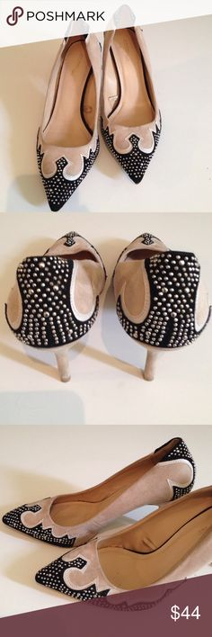 "ZARA SUEDE STUDDED PUMPS! Fabulous beige and black pumps with gorgeous design and tiny studs. These make any basic black outfit come to life! In good condition. Heel: 3.25"" These will fit a size 7.5 or 8. Zara Shoes"
