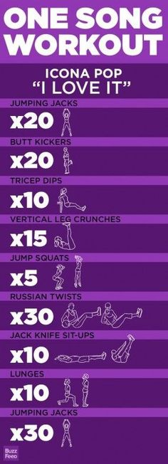 Workout plan for the song I Love It!  Check out Facebook: https://www.facebook.com/fitnessmotivateme