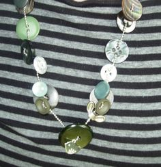 Whatnots and button on a ball Chain Necklace