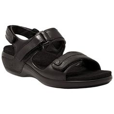 Aravon Katy Women's Slingback Sandals are fashionable and offer orthopedic comfort. Features include ABZORB cushioning, Primalux comfort cushion and soft seam lining. Aravon Katy - Women's Slingback Sandal, Best Shoes For Swollen Feet Black Leather Sandals, Black Sandals, Supportive Sandals, Orthopedic Shoes, Kids Sandals, Women Sandals, Clearance Shoes, White Boots, Kids Boots