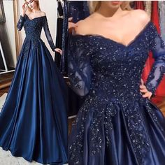 Navy Blue Ball Gowns Prom Dress with Long Sleeves navy blue prom dress. Fabric:satin Dress Tailoring Time: 5 to 7 days (except holiday) Receiving time=tailoring time+shipping time Navy Blue Prom Dresses, Prom Dresses With Sleeves, Blue Wedding Dresses, Satin Dresses, Custom Dresses, Navy Blue Gown, Floral Dresses, Floral Wedding, Wedding Gowns