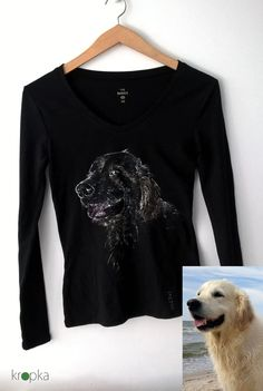 Golden retriever tshirt Custom dog tee Hand by KropkaDesign #goldenretriever #memory #custompainting #annimalpainting #kropkadesign