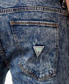 Guess Men's Indigo Skinny-Fit Acid Wash Jeans - Blue 40