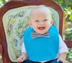 Bowtie bib / Baby bib / Teal bib by FHJBaby on Etsy