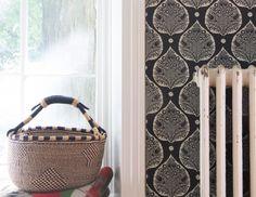 Little Lotus Wallpaper in Iron - Window, Basket & Radiator - Galbraith & Paul