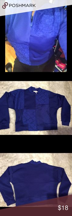 Electric Blue Bomber Jacket with Lace detail This Bomber style Jacket is right on trend! Made from polyester. The lace detail adds a little extra pizazz! Urban Glam Punk Jackets & Coats