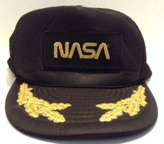 NASA Space Shuttle Captain Moon Astronaut Embroidered SnapBack Hat Gold Black  | eBay