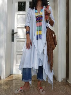 Cardigan Shirt, Long Cardigan, Shirt Dress, Denim Ootd, Mode Hijab, Summer Bags, Blouse Online, Blouse Styles, Top Coat