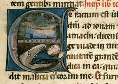 Jonah trying to dive out of the whale (Bible, Aix-en-Provence BM 1455, 13th c).