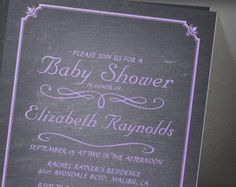 Lavender Chalkboard Baby Shower Invitation