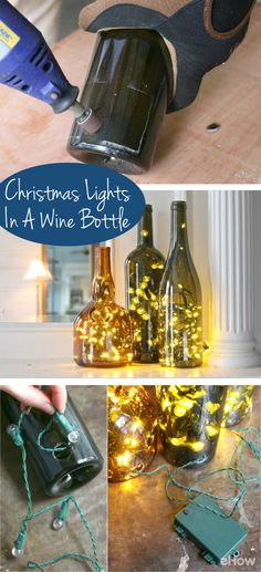 Display Christmas lights in a whole new, non-traditional way this year – in wine bottles! An LED light string can transform the wine bottle display into a lasting and useful memento! Display Christmas lights in a Wine Bottle Display, Wine Bottle Art, Bottle Bottle, Vodka Bottle, Empty Wine Bottles, Lighted Wine Bottles, Wine Bottle Decorations, Wine Bottle Christmas Decor, Wine Bottles Decor