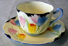 Authentic Art Deco Paragon hand-painted 'Tulip' pattern china cup+saucer 1931+ | eBay