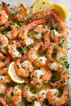 Baked Shrimp (with Garlic Lemon Butter Sauce) - Cooking Classy - Baked Shrimp (with Garlic Lemon Butter Sauce) 5 from 6 votes Did you make this recipe? Leave a revi - Baked Shrimp Recipes, Fish Recipes, Seafood Recipes, Pasta Recipes, Cooking Recipes, Healthy Recipes, Quick Recipes, Garlic Butter Shrimp, Lemon Butter Sauce
