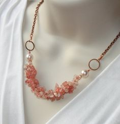 """Lovely """"Crochet Necklace"""" featuring Rose Quartz chips that I ornate with Pink pearls and hang into Antique Copper chain...closes with lobster clasp to secure closure...Necklace Length is 16 1/2 """"  Pearls 10mm."""