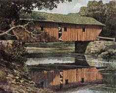 Lovejoy Covered Bridge, Ellis River, Andover, Maine by Eric Sloane