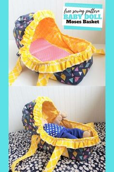 FREE Sewing pattern for the Baby Doll Moses Basket. Most little girls go through a stage in their early life where a doll is very important to them. Well, mums what better way to make that time extra special by making your little angel a bed for her doll. This is a super fun baby doll project and it's really easy to sew. Animal Sewing Patterns, Sewing Patterns For Kids, Sewing For Kids, Baby Patterns, Sewing Toys, Baby Sewing, Free Sewing, Teddy Bear Sewing Pattern, Free Pattern Download