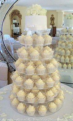 White Wedding Cupcakes-Filigree Cupcake Cases-Woodborough Hall Nottingham, A Favorite! White Wedding Cupcakes, Lace Cupcakes, Cupcake Tower Wedding, Elegant Cupcakes, White Cupcakes, Pretty Cupcakes, Luxe Wedding, Dream Wedding, Cake Designs