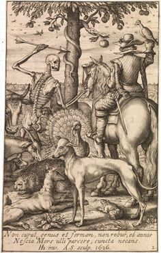 Death with Falconer and Animals, title page to Memento Mori, Andries Jacobsz (published by Hendrick Hondius I), 1626. Engraving. Image courtesy of the Fine Arts Museums of San Francisco.