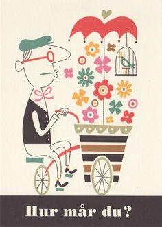 Takashi Furuya retro 60s style illustration flower seller, bicycle