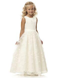 Jewel neck sleeveless dress w/ full skirt and ivory belt.   http://www.dessy.com/dresses/flowergirl/FL4035/