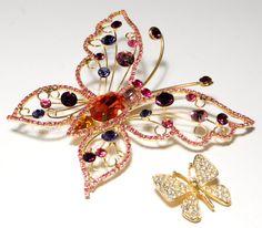 Vintage Spring Colored Rhinestone Butterfly by VintageMeetModern, $30.00