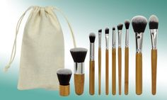 Handmade makeup brush set includes 10 pieces like a lip brush, foundation brush, concealer brush to cater for a range of looks Concealer Brush, Lip Brush, Natural Brushes, Foundation Brush, Eyeshadow Brushes, Makeup Brush Set, Eco Friendly, Bamboo
