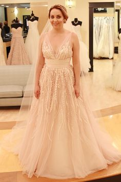 Season 9 Featured Dress: Watters. A-line. Whisper pink. Silk taffeta and tulle. Strap. V-Neck w/ ribbon belt with sequins. A-line. $4,350.00 (50% off - $2,150) #0121695