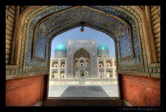 "Bukhara, Uzbekistan  ""The Mir-i Arab Madrasa was built across from the Kalon Mosque in the 1530's. This is a view from the Kalon Mosque.""  Mir-i Arab by Walter Menegazzi"