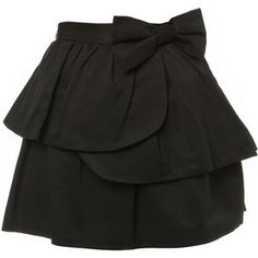 black skirt with a bow
