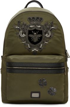 DOLCE & GABBANA Green Nylon Bee Backpack. #dolcegabbana #bags #leather #lining #nylon #backpacks #