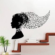 Wall Decals Girl Hair Beauty Salon Music Notes Woman Fashion Cosmetic Art Bedroom Dorm Vinyl Sticker Wall Decor Murals Wall Decal: Amazon.co.uk: Kitchen & Home