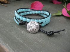 Striking Blue Double Wrap Bracelet by JVossDesigns on Etsy, $39.00