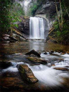 """""""Looking Glass Falls"""" - Pisgah Forest Waterfall    Description: Looking Glass Falls in Pisgah Forest is a favorite destination for many people, tourists and locals alike. It's a wonderful waterfall that is easy to get to as it is right next to the main road. It is located in the Pisgah National Forest near Brevard, NC."""