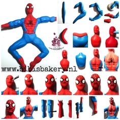 mr Spiderman - fimo (or try with Gumpaste/Marzipan for Cakedeco) His pictorial will show you how to make him yourself, xxx Bibi Spiderman Cake Topper, Spiderman Theme, Superhero Cake, Spiderman Man, Fondant Figures Tutorial, Cake Topper Tutorial, Fondant Toppers, Cake Decorating Techniques, Cake Decorating Tutorials