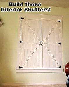 Make your own indoor shutters. I think it would be nice to split them with 2 smaller upper shutters and 2 larger lower shutters. That way you can let the light in without interferring with your tv or blinding you in the room. Diy Interior Shutters, Diy Shutters, Wooden Shutters, Window Coverings, Window Treatments, Indoor Shutters, Do It Yourself Home, That Way, Decoration