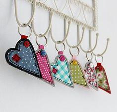Fabric Heart Key Ring