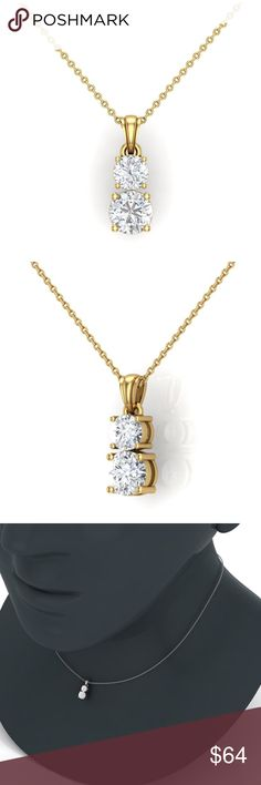 """BEAUTIFUL 2 STONE PENDANT AND NECKLACE NEW 2 STONE PENDANT AND CHAIN!! PENDANT IS APPROX 1"""" 14K YGP OVER 925 STERLING SILVER (HALLMARK STAMP) 2 AAA CLEAR CZ AND CHAIN IS APPROX 18"""" includes velvet gift box Jewelry Necklaces"""