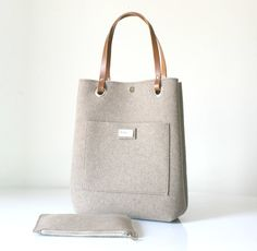 Leather Tote Felt tote bag Leather Bag Large tote by Lefrac