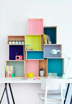 colorful creative home office inspiration with lots of shelves and storage. Box Shelves, Shelving, Wall Shelves, Shelf Desk, Crate Shelves, Diy Casa, Ideas Para Organizar, Kid Desk, Kids Storage